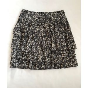 LOFT Petite Ruffled Floral Mini Skirt     0P